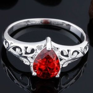Other - NEW JULY BIRTHSTONE RUBY RED RING .925 SILVER